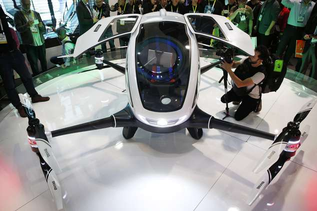 The EHang 184 at CES. Photo Credit: AP Photo, John Locher